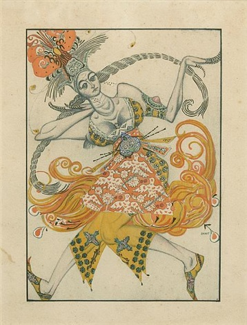 a costume design for loiseau de feu by leon bakst