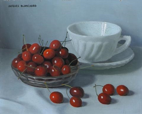 still life with a bowl of cherries and a teacup and saucer still life with a bowl of cherries vases and apples 2 works by jacques blanchard