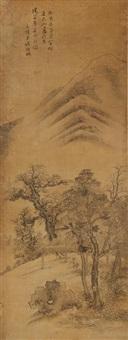 landscape after tang yin, 1753 by qian weicheng