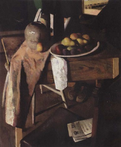 a still life with fruit on a table by gordon franklin peers