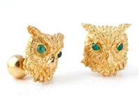 a pair of owl cufflinks by kurt wayne