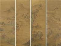 landscapes of the four seasons (set of 4) by chen zhuo