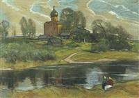 russische landschaft mit holzhütten und kirche by ilya glazunov