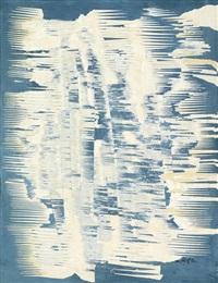 décollage in blau und weiß by reinhold koehler