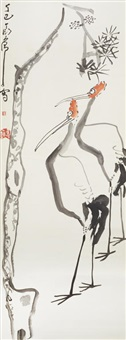 cranes and pine, 1977 by ding yanyong