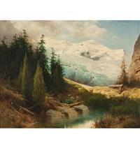 gebirgslandschaft mit blick auf den ortler by leopold heinrich vöscher