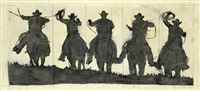 fünf cowboys (study) by robert longo
