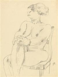 sitzender weiblicher akt mit übereinandergeschlagenen beinen by jeanne mammen