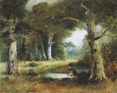 a woman washing at a pond in a landscape by jules r mersfelder