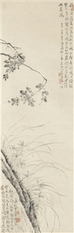 ink camellia and orchid by wang shishen