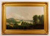 the old bridge, whitehall, new york, view of camel's hump mountain, vermont (from whitehall, new york) by daniel charles grose