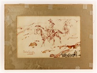 studies of cowboys on horseback by frederic remington