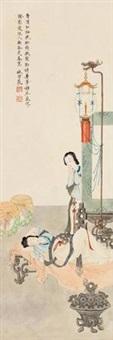 灯下美人春睡图 (lady) by lin xueyan