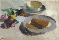 stilleben mit teller, kaffeetasse und blüten by sigrid kopfermann