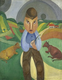 bauer mit kühen auf dem felde by alfred lomnitz