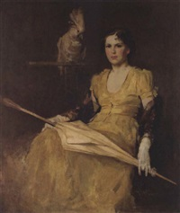 a portrait of a young lady in yellow with an umbrella by william frederick foster