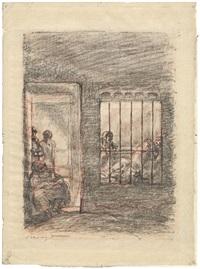 szene mit frauen in einem gefängnis by max slevogt