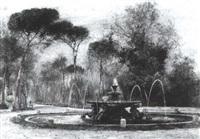 brunnen im park der villa borghese by max merker