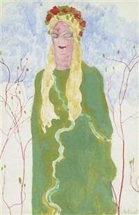 dame im grünen kleid by léon spilliaert