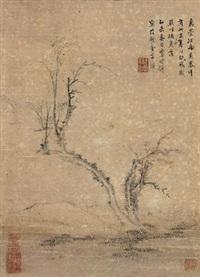 孤梅逢春图 (pine) by li shizhuo
