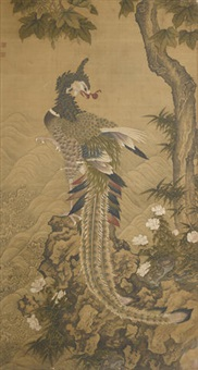 a ming-style painting of a phoenix beneath a wutong tree by anonymous-chinese (qing dynasty)