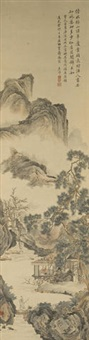 landscape in the style of tang yin by liu yanchong