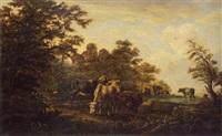 hirtenpaar mit kühen, schafen und ziegen an der tränke by anthony jacobus offermans