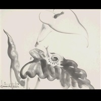 snail and calla lily by chiura obata