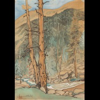 upper lyell fork near lyell glacier (from the world landscape series) by chiura obata