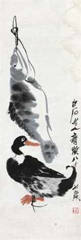 鲜味 fish and duck by qi baishi