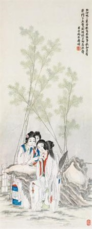 庭院莺莺图 ladies by qi baishi