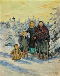 winter landscape with a russian woman and three girls in a forest, in the background a monastery with blue domes by olga (grand duchess) alexandrovna