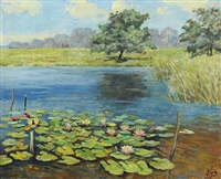 landscape with water lilies and rushes at the lakeside by olga (grand duchess) alexandrovna