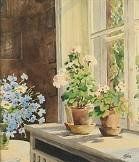 interior fra knudsminde with flowers by olga (grand duchess) alexandrovna