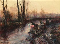 washer women at a stream by michel korochansky