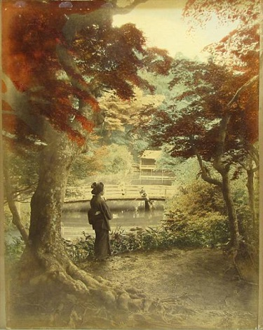 hand tinted photograph depicting autumn maples at takinogwa oji by kusakabe kimbei