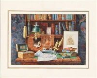 russian interior. at the scientist's bureau by stephan fedorovich alexandrovski