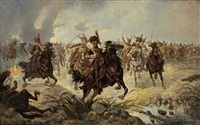 landscape with horse-riding cossacks advancing to battle by henri mornard