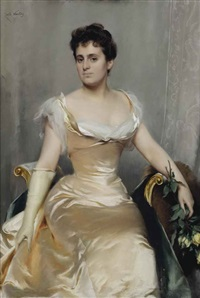 an elegant lady in a silk dress by emile wauters