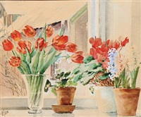flowers in a window sill by olga (grand duchess) alexandrovna