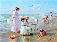 summer day on the beach at the black sea by aleksandr averin