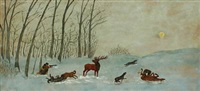 wintry landscape with a man hunting reindeer by grigor apojan