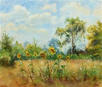 blooming sunflowers in a forest glade by olga (grand duchess) alexandrovna