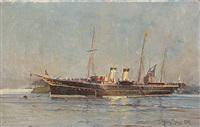 tsaritsa maria feodorovna's tsar yacht the polar star in copenhagen harbour by harry kluge