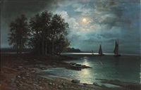moonlight above the ladoga lake by max reinus