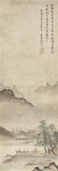 landscape with fisherman by soga jasoku