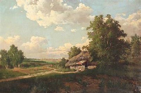 russian summer landscape with a hut in the background a larger city by mikhail petrovich baron klodt von jurgensburg