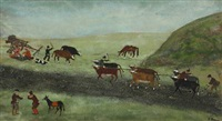 farmers and cattle in the field by grigor apojan