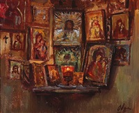 room corner with russian icons by olga (grand duchess) alexandrovna