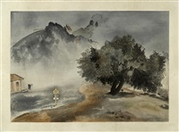 storm, lick observatory and dawn, knight's ferry (2 works from the world landscape series) by chiura obata